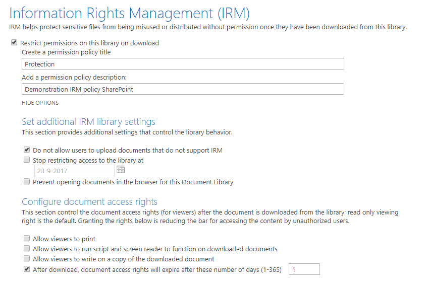 SharePoint_IRM_Settings
