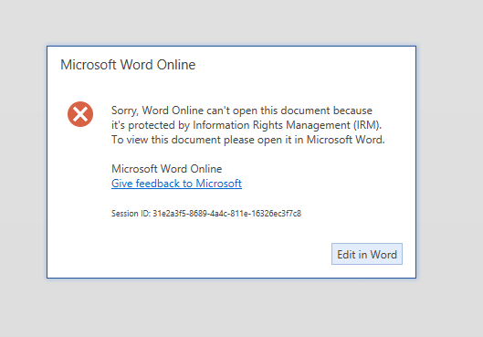 Word Online error